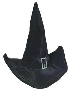 Schwarzer Hexenhut mit Schnalle - Kopfweite 57cm - Zubehör - 1 Teil - Rubie's