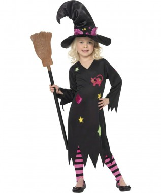 Hexe - Kleid+Hut+Strumpfhose - Kinder Kostüm - 3 Teile - Smiffy's