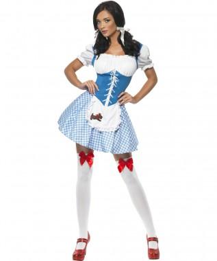 Sexy Landmädchen - Kleid - Blau-Weiß, Gelb-Weiß, Pink-Weiß - Kostüm - 1 Teil - Smiffy's