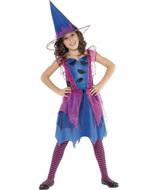 Fledermaus Hexe - Kleid+Hut - Blau-pink - Kinder Kostüm - 2 Teile - Smiffy's