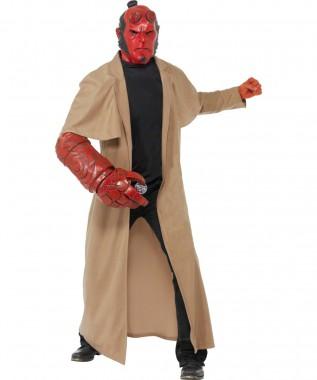 Hellboy - Mantel+Maske+Zubehör - Braun-rot - Kostüm - 4 Teile - Smiffy's
