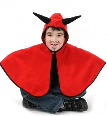 Cape Teufel - Cape mit Kapuze - Kinder Kostüm - 1 Teil - Fries