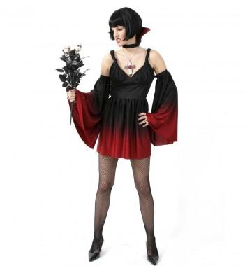 Sexy Vampir - Kleid mit Kragen und Ärmel - Kostüm - 4 Teile - Fries
