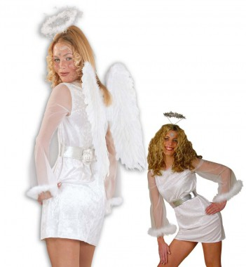 Engel - Kleid+Gürtel - Kostüm - 2 Teile - Fries