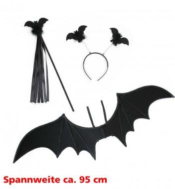 Fledermaus-Set - Schwarz - Zubehör - 3 Teile - Fries