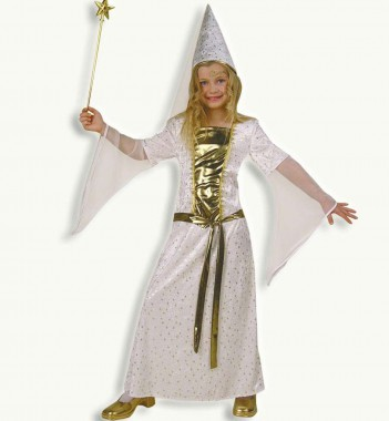 Ritterfräulein - Kleid+Hut - weiß, gold - Kinder Kostüm - 2 Teile - Fries