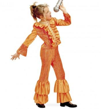 Disco Mädchen - Oberteil+Hose - orange - Kinder Kostüm - 2 Teile - Fries