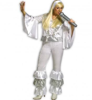 Disco Girl - Oberteil+Hose - weiß - Kostüm - 2 Teile - Fries