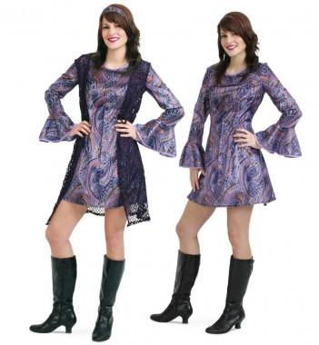Hippie Girl - Kleid+Weste+Haarband - violett - Kostüm - 3 Teile - Fries