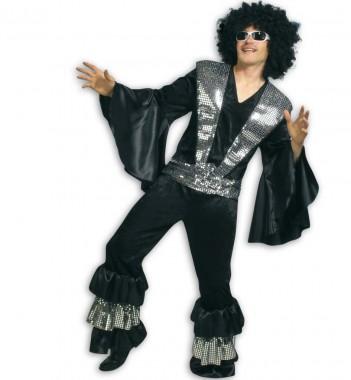 Disco King - Oberteil+Hose - schwarz - Kostüm - 2 Teile - Fries