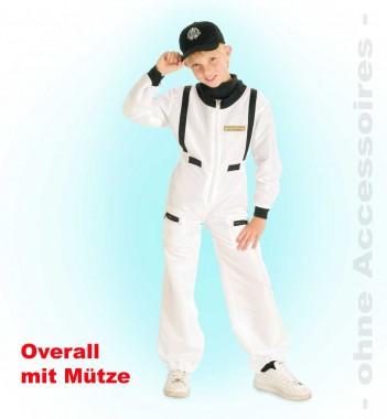 Astronaut - Overall+Mütze - Weiß-schwarz - Kinder Kostüm - 2 Teile - Fries