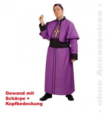 Kardinal Paul - Robe+Schärpe+Birett - Lila-schwarz - Kostüm - 3 Teile - Fries