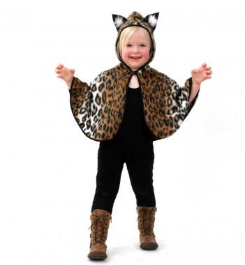 Kätzchencape - Cape - Braun-schwarz-weiß - Kinder Kostüm - 1 Teil - Fries