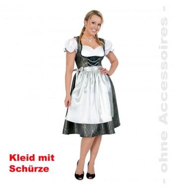 Dirndl DeLuxe - Kleid+Schürze - Anthrazit-weiß - Kostüm - 2 Teile - Fries