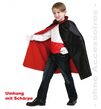 Dracula - Umhang mit Schärpe - Kinder Kostüm - 2 Teile - Fries