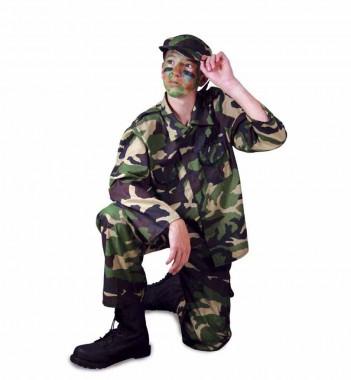 Dschungelkämpfer - Hose+Oberteil+Zubehör - Camouflage-hellblau - Kinder Kostüm - 4 Teile - Fries