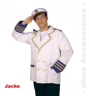 Kapitänsjacke - Jacke - Weiß-blau-gold - Kostüm - 1 Teil - Fries