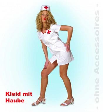 Krankenschwester - Kleid+Haube - Weiß-rot  - Kostüm - 2 Teile - Fries