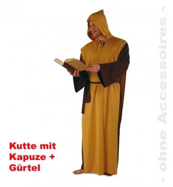 Bruder William - Kutte+Überwurf+Zubehör - Braun-orange - Kostüm - 3 Teile - Fries
