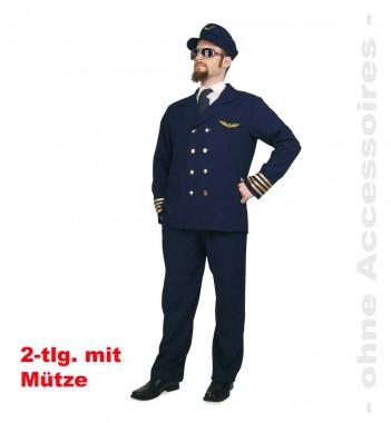 Pilot - Jacke+Hose+Mütze - Blau-gold - Kostüm - 3 Teile - Fries