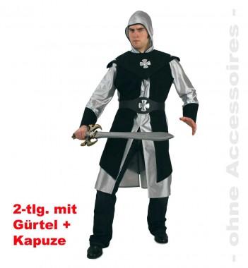 Schwarzer Ritter - Oberteil+Überwurf+Zubehör - Silber-schwarz - Kostüm - 4 Teile - Fries