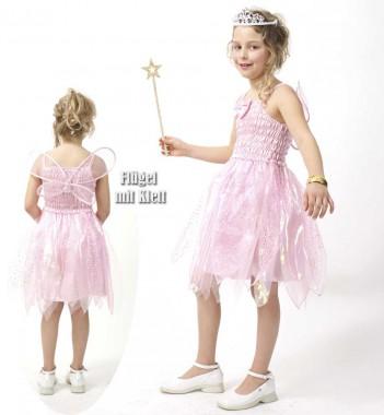 Elfe - Kleid+Flügel - pink - Kinder Kostüm - 2 Teile - Fries