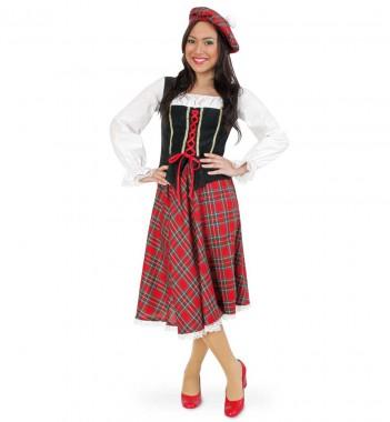 Schottin - Bluse+Rock+Mütze - Rot-schwarz-weiß - Kostüm - 3 Teile - Fries