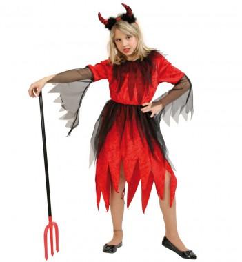 Teufel Rubina - Kleid - Kinder Kostüm - 1 Teil - Fries