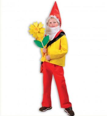 Zwerg Purzelbaum - Hose+Oberteil+Zubehör - Rot-gelb-weiß - Kinder Kostüm - 5 Teile - Fries