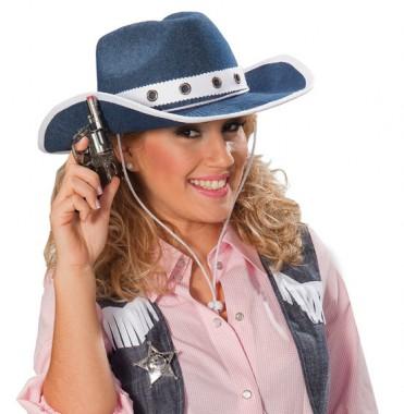 Cowgirl - Hut mit Jeansoptik - Zubehör - 1 Teil - Rubie's