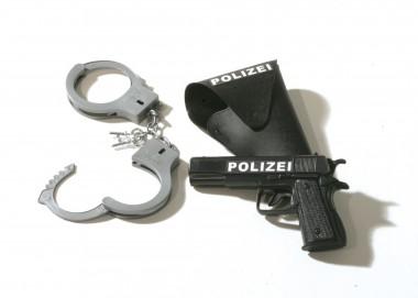 Polizei Set - Pistole+Halfter+Handschellen - schwarz - Zubehör - 3 Teile - Rubie's