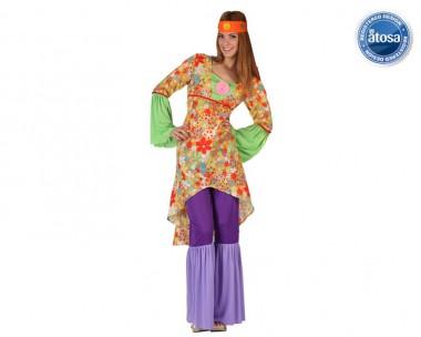 Psychedelisches Hippiemädchen - Kleid+Hose+Stirnband - lila-bunt - Kostüm - 3 Teile - Atosa