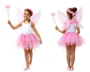 Feentänzerin - Tutu+Flügel+Zubehör - rosa - Kinder Kostüm - 4 Teile - Atosa