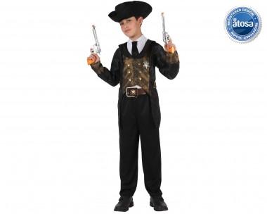 Sheriff - Hose+Jackett+Zubehör - schwarz-braun - Kinder Kostüm - 3 Teile - Atosa