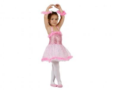 Ballerina - Kleid+Armschmuck - rosa-glitzernd - Kinder Kostüm - 1 Teil - Atosa