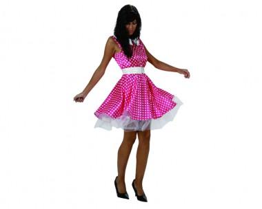 50er Jahre Mädel - Kleid+Gürtel - pink-weiß - Kostüm - 2 Teile - Atosa
