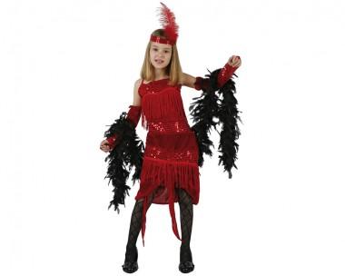 Charleston - rot - Kinder Kostüm - 3 Teile - Atosa