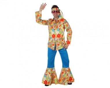 Hippie Mann - Hose+Hemd+Tuch - blau-bunt - Kostüm - 3 Teile - Atosa