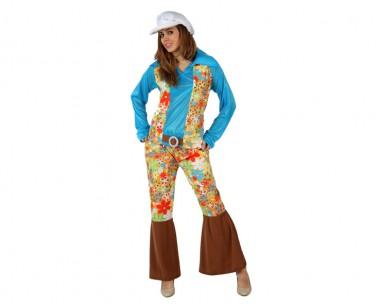 Hippie Frau - Hose+Oberteil+Mütze - blau-bunt - Kostüm - 3 Teile - Atosa