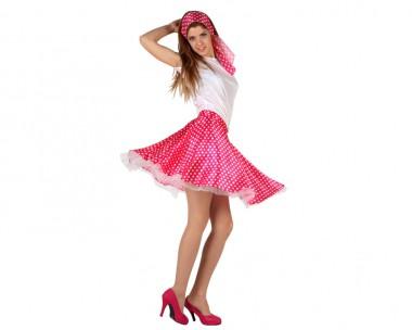 50er Jahre Mädchen - Bluse+Rock+Tuch - rot, gelb, schwarz, blau, pink - Kostüm - 3 Teile - Atosa