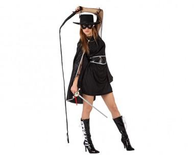 Banditin - Kleid+Umhang+Zubehör - Schwarz - Kostüm - 4 Teile - Atosa