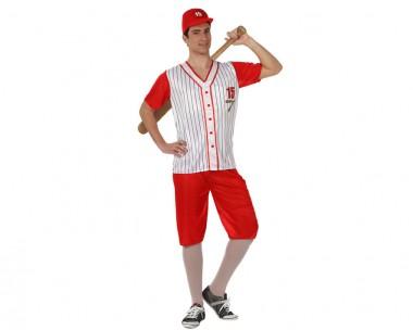 Baseballspieler - Oberteil+Hose+Mütze - Rot-Weiß - Kostüm - 3 Teile - Atosa