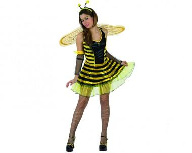 Bienchen - Kleid+Flügel+Zubehör - Schwarz-Gelb - Kostüm - 4 Teile - Atosa