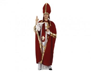 Bischof - Robe+Umhang+Zubehör - Rot-Weiß-Gold - Kostüm - 5 Teile - Atosa