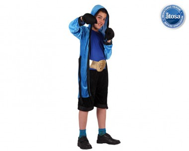 Boxer - Oberteil+Hose+Zubehör - Blau-Schwarz - Kinder Kostüm - 4 Teile - Atosa