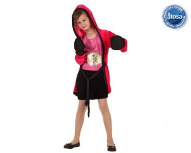 Boxer-Mädchen - Oberteil+Rock+Zubehör - Rot-Schwarz - Kinder Kostüm - 4 Teile - Atosa