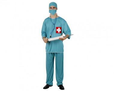 Chirurg - Oberteil+Hose+Zubehör - Blau - Kostüm - 4 Teile - Atosa