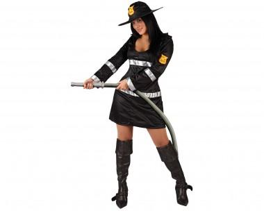 Feuerwehrfrau - Kleid+Hut - Schwarz-Silber - Kostüm - 2 Teile - Atosa