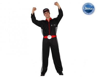 Formel 1 Rennfahrer - Overal+Mütze - Schwarz-Weiß-Rot - Kostüm - 2 Teile - Atosa