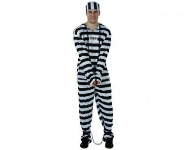 Gefangener - Overal+Mütze - Schwarz-Weiß - Kostüm - 2 Teile - Atosa